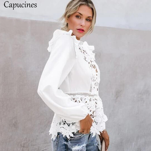 Image 4 - Capucines Lace Splicing Ruffled High Waist White Shirts Blouse Women Hollow Out Embroidery Keyhole Back Elegant Summer Chic Tops