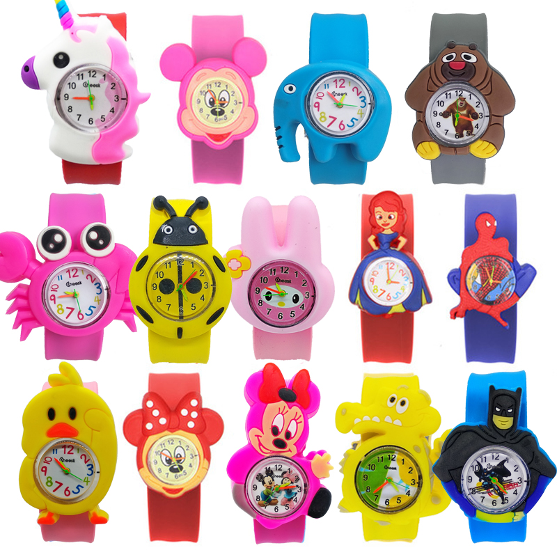Child Patted Toys Interesting Baby Birthday Gifts Student Children Watch Cartoon 14 Patterns Silicone Tape Animal Kids Watches