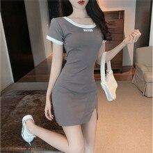 Dress New Summer Buttocks-Skirt Short-Sleeve Minority Open-Back Split Temperament Waist-Show