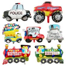 1pc Big balloon Birthday Party Decorations Kids Car foil balloons toys for children Helium Balloon Truck School Bus