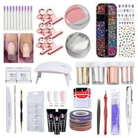 43Pcs Nail Poly Gel Great Value Set Nails Extend Glue Fast Uv Dryer Lamp Nail Art Full Tools Manicure Sets