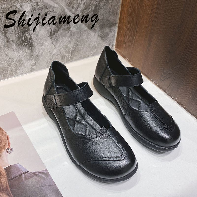 Top leather 2021 spring new casual single shoes women's low top solid color Velcro leather women's shoes