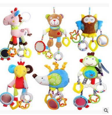Baby Educational Comforter Toys Multi-functional Animal Bed Bell Bed Hanging Trolley Pendant Baby Cloth Toy Doll