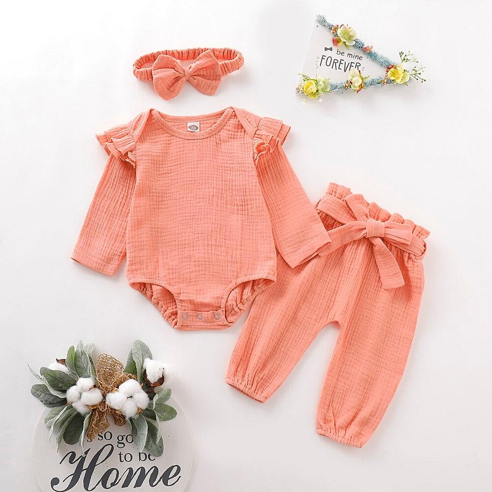 Autumn Cotton Baby Girl Clothes Set Newborn Winter Keep Warm Long Sleeve Kids For 0-2Year Pink Orange D30