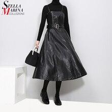 Женское платье средней длины без рукавов, элегантное черное платье трапеция из искусственной кожи на тонких бретельках с поясом, модель 2020 в английском стиле, 3014