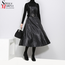 2020 England Style Women Faux Leather Black Midi Sexy Sleeveless PU Dress Belt A Line Spaghetti Strap Elegant Party Dresses 3014