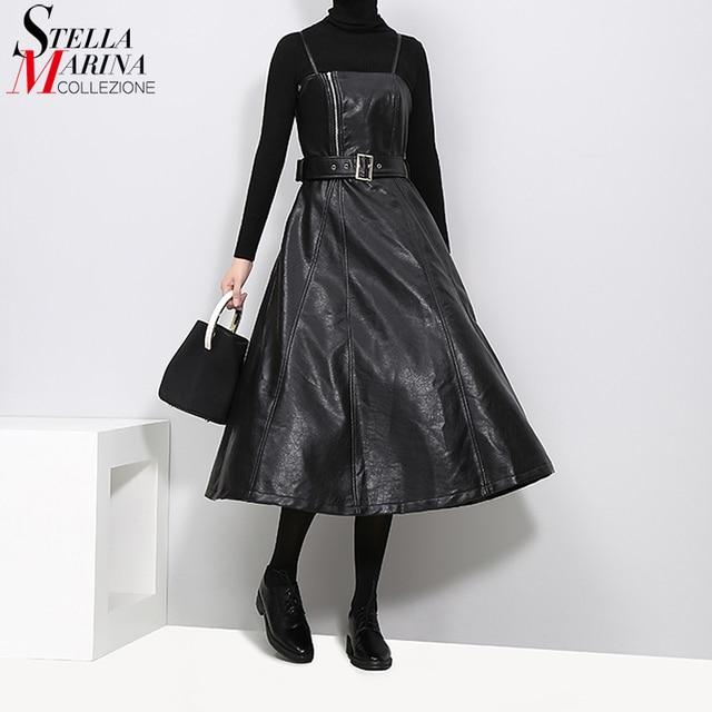 2020 Phong Cách Anh Nữ Giả Da Đen Midi Gợi Cảm Không Tay PU Thắt Lưng Váy Chữ A Mì Ý Dây Thanh Lịch ĐẦM DỰ TIỆC 3014