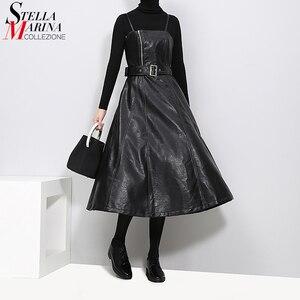 Image 1 - 2020 styl angielski kobiety Faux Leather czarny Midi Sexy bez rękawów sukienka z PU pas linii Spaghetti pasek eleganckie sukienek 3014
