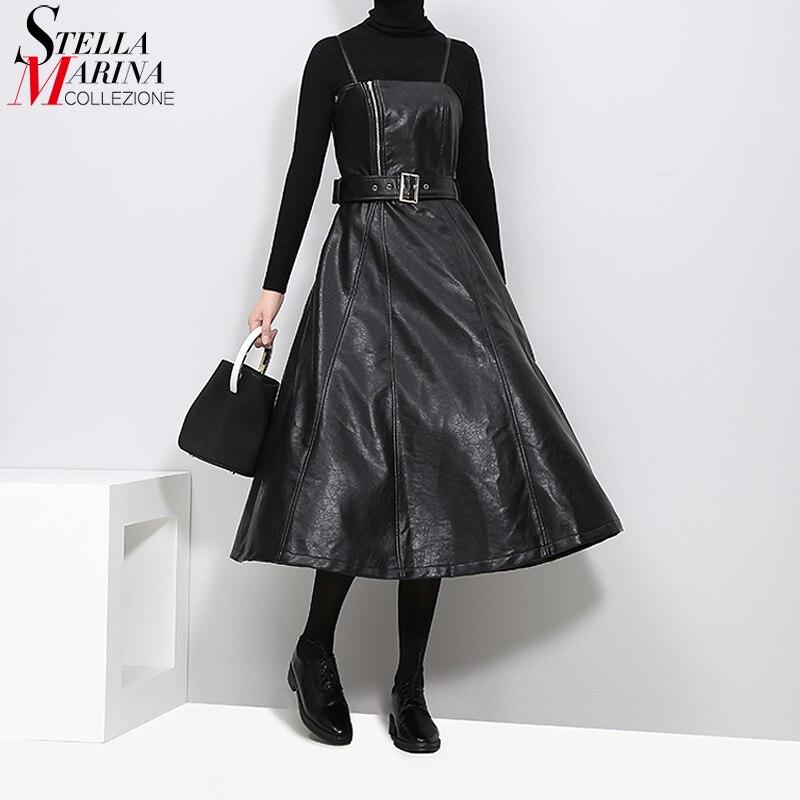 New 2019 Autumn Winter Women Faux Leather Black Midi Sexy  Sleeveless PU Dress Belt A Line Spaghetti Strap Elegant Dresses  3014club wear dressdress withdress with belt