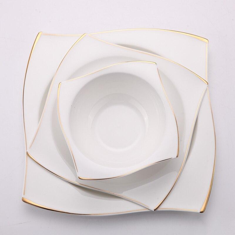 YeFine vaisselle en porcelaine à os avancé | Assiettes à dîner carrées plats de haute qualité service de vaisselle en céramique blanche bols à soupe - 3