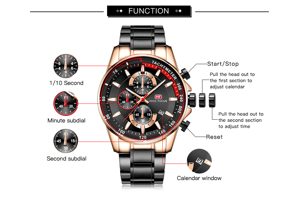 Classic Quartz Mens Watches Top Brand Luxury 3 Sub-dial 6 Hands Date Display Fashion Sports Chronograph Wristwatch MINI FOCUS