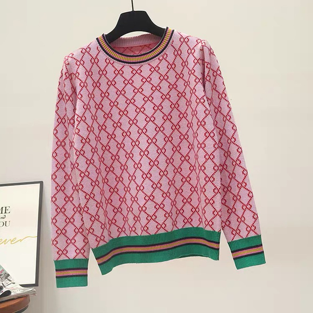 Autumn And Winter New Loose Knit Sweater Korean Style Pullover Round Neck Geometric Clash Jacquard Casual Sweater Jumper 5