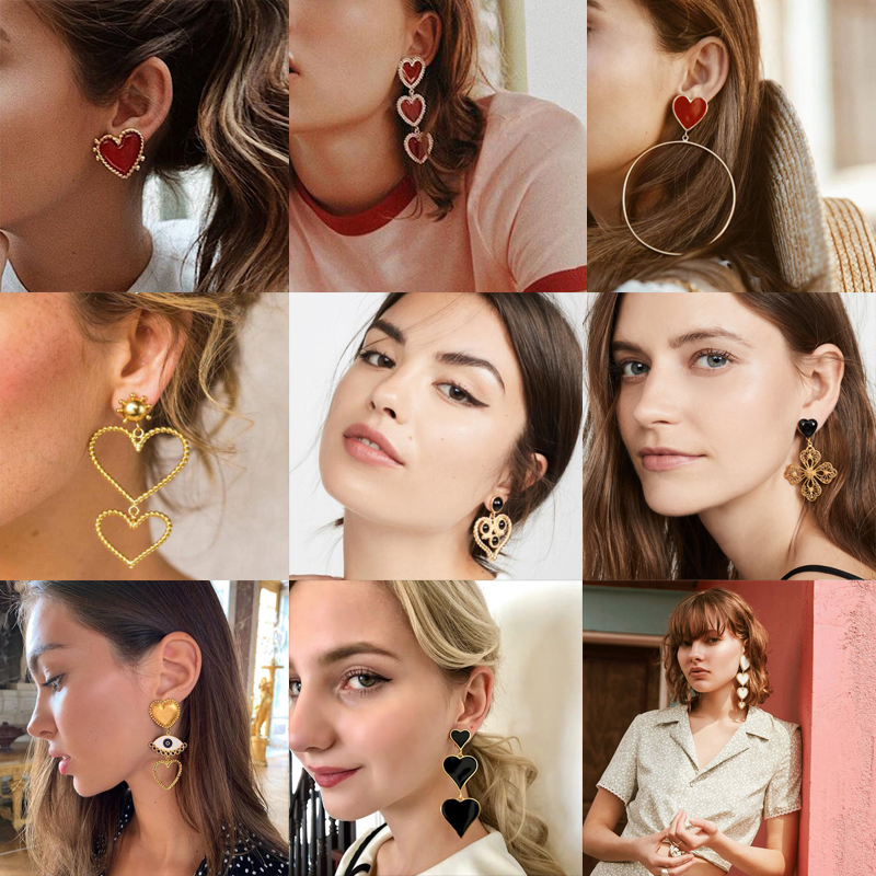 Docona 11 Style <font><b>Elegance</b></font> Red Heart <font><b>Drop</b></font> Dangle <font><b>Earrings</b></font> <font><b>Gold</b></font> Metal Punk Alloy Eye Hollow Geometric <font><b>Jewelry</b></font> Wholesale image