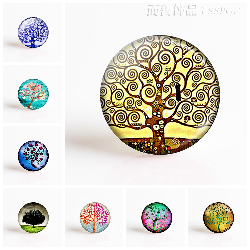 5Pcs/lot Klimt Tree Of Life Pendant Making 25mm Round Glass Cabochon Gemstone Jewelry Accessories