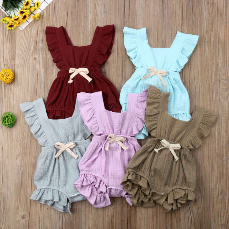 Summer Baby Girl Clothing Newborn Ruffle Solid Sleeveless Square Collar Romper Jumpsuit  One-Pieces Outfit Clothes