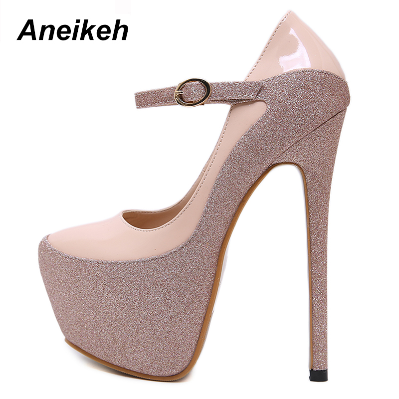 Aneikeh 2020 Spring Fashion Sequins High Heel Mary Janes Pumps Shoes Woman Platforms Thin Heel Round Head Stripper Party Shoes