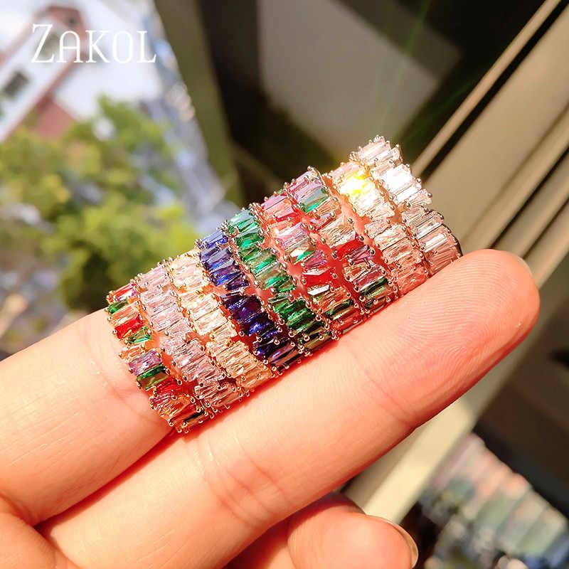 ZAKOL mode luxe multicolore breloque AAA Baguette cubique zircone anneaux de mariage pour les femmes T forme pierre fête bijoux FSRP252