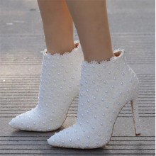 2019 Sexy fashion white lace lady party prom shoes boots wedding shoes wedding dress women shoes Size 35-41