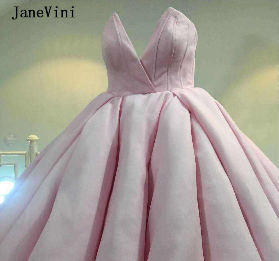 JaneVini 2020 Elegant Princess Pink Quinceanera Dresses Ball Gown V Neck Lace-up Back Tulle Puffy Girls Formal Dress Vestido 15