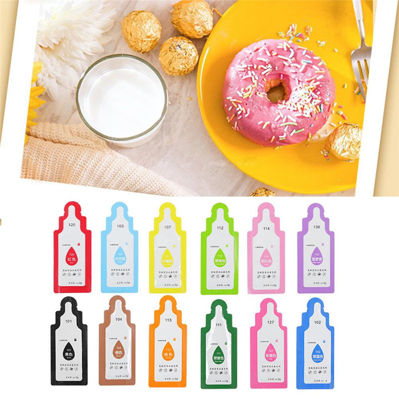 TTLIFE 12Pcs Edible Food Pigment Coloring Healthy Safe Fondant Cake Decorating Tools Macaron Cream Cake Baking Pastry Tools