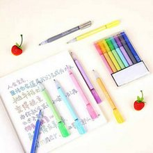 8 Pcs Seni Spidol Marker Pen Set Tinta Gel Double Line Pen Warna untuk Anak-anak Dewasa Mahasiswa Marker Stationery Set(China)