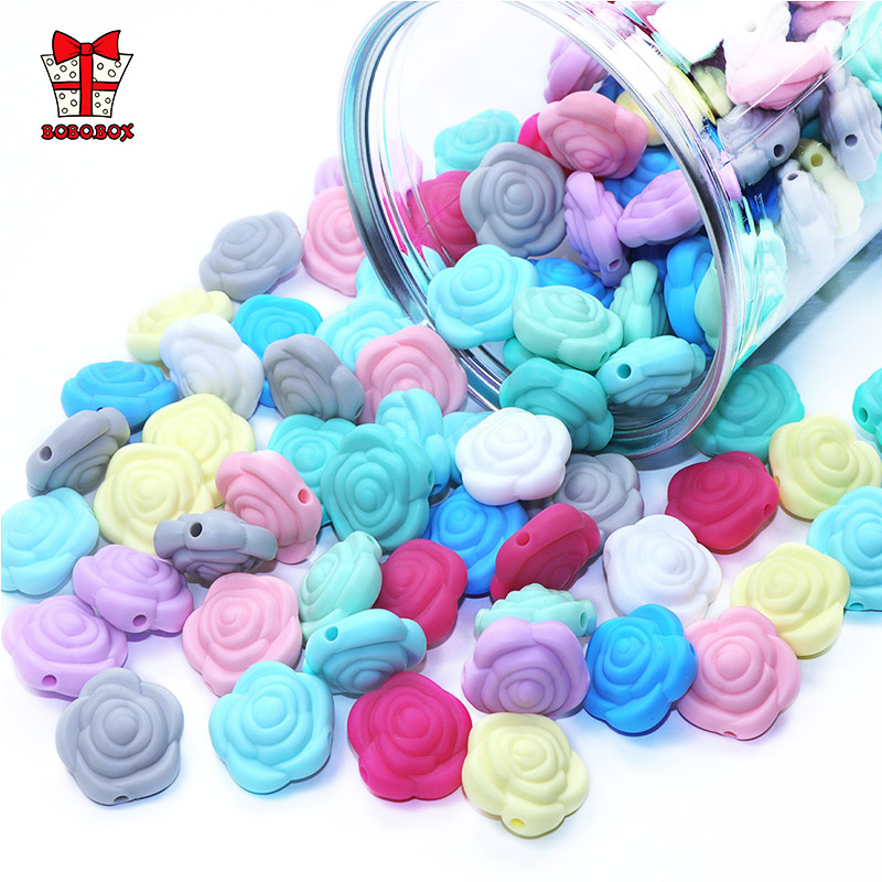 BOBO.BOX 10pcs Silicone Beads Flower Baby Teethers BPA Free Rose Baby Teething For Necklace Chewable Toy For Teether Silicone