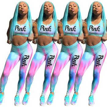 2020 Summer Women Tracksuit Hot Style Model Colorful Letter Pink Print Tank Top & Trousers European and American Two Piece Set ibackpack 2017 hot style pink