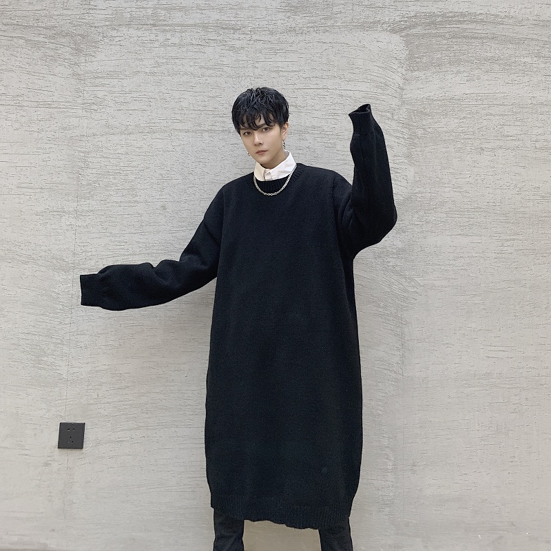 Men Long Knitted Pullover Sweater Autumn Winter Japan Vintage Style Male Women Streetwear Hip Hop Gothic Thick Dress Sweater