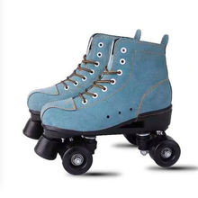 Green suede leather skate shoes adult children men and women double row skates night smooth shoes roller skates flashing wheels