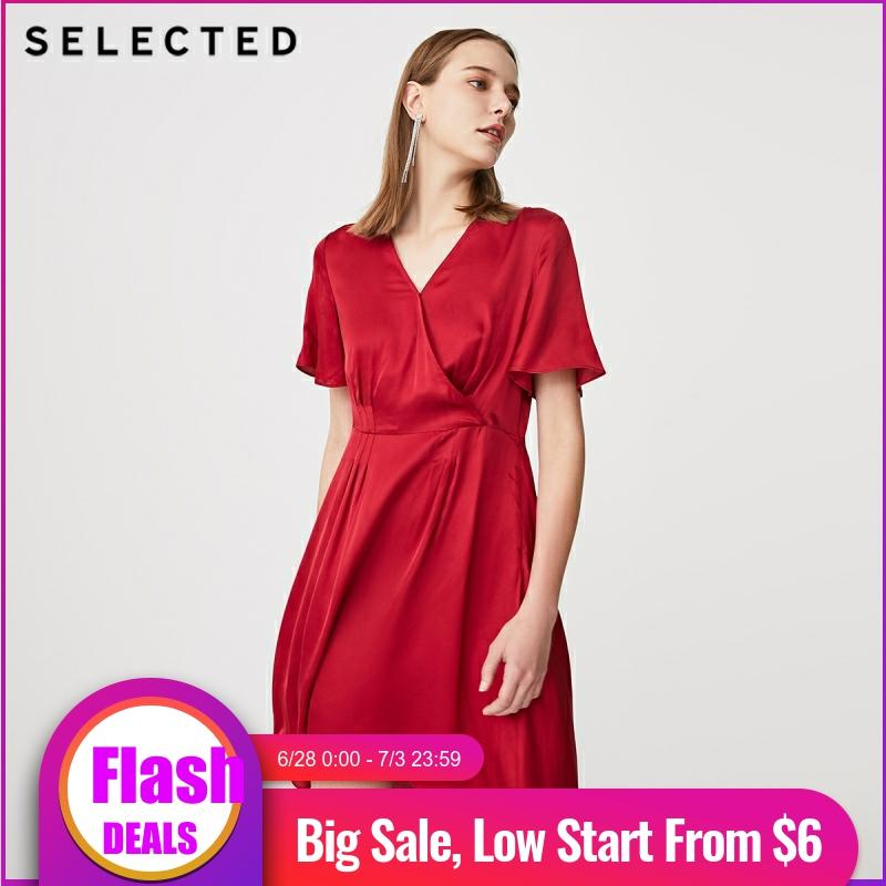 SELECTED Summer Slim Fit Red V-neckline Midi Dress S|41922J512