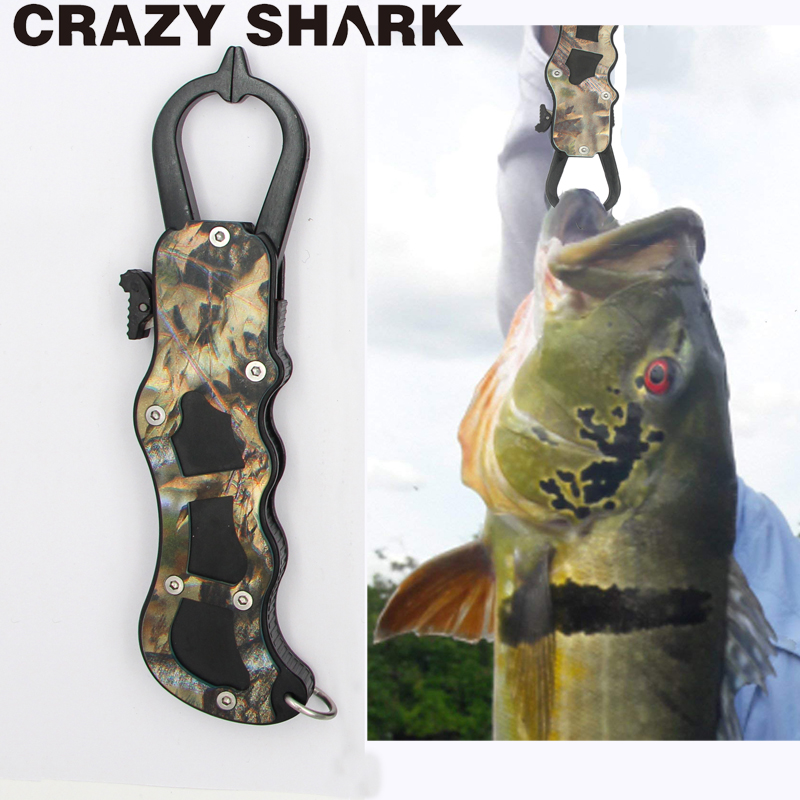 Crazy Shark Camo Aluminum Alloy Fish Lip Grip 16.5cm Fishing Gripper Holder Goods For Fishing Carp Fish Tools
