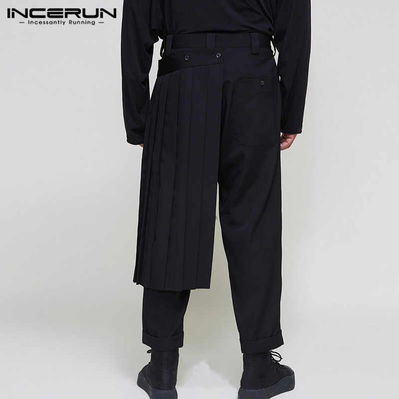 Incerun Fashion Pria Kasual Celana Tombol Solid Irregular Rok Celana Longgar Lari Streetwear 2020 Gaya Punk Pria Celana Celana S-5XL