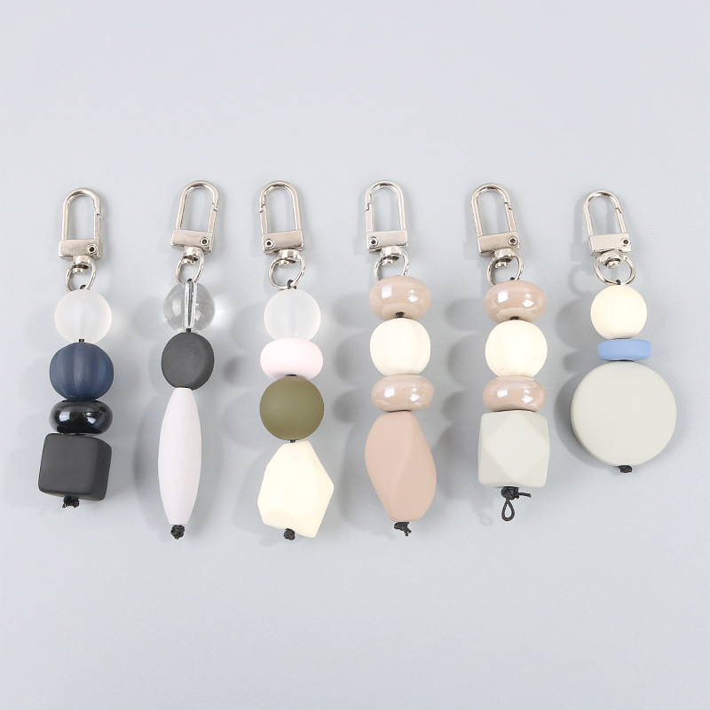 Porte-cl/és Coeur Strass Cristal Multicolore Pompon Noir. Bijoux de Sac