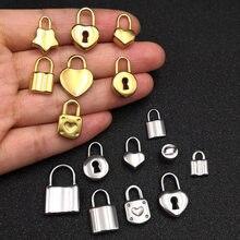 5 sztuk/partia 100% ze stali nierdzewnej złota kłódka Charms wisiorek dla naszyjniki DIY tworzenia biżuterii znalezienie akcesoria zamki wielu stylów