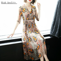 100% Real Silk Dress Women Long Summer Dress Floral Print Ladies Dresses Elegant Party Vestidos De Fiesta 2020 LWL1815