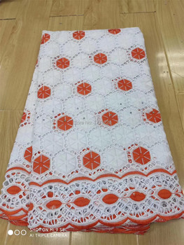 White/Red African Swiss Voile Lace Fabric High Quality 2020 Embroidery Dry Cotton Lace Fabric 5Yards Nigerian Lace Fabric 13FS84