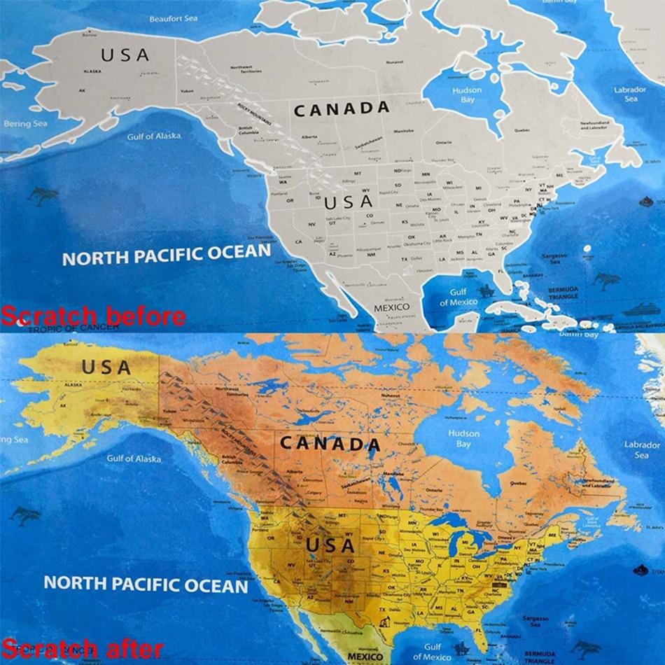 Черная карта мира для путешествий, скретч-карта, персонализированная стираемая карта мира без трубки, креативные наклейки для дома 59,5*82,5 см