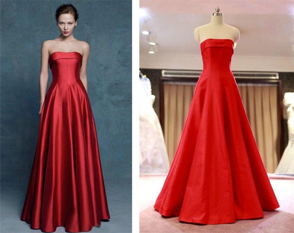 Concise Strapless Vestido De Festa Custom Red Satin Long Prom 2018 New Sexy A-line Elegant Formal Gowns Bridesmaid Dresses