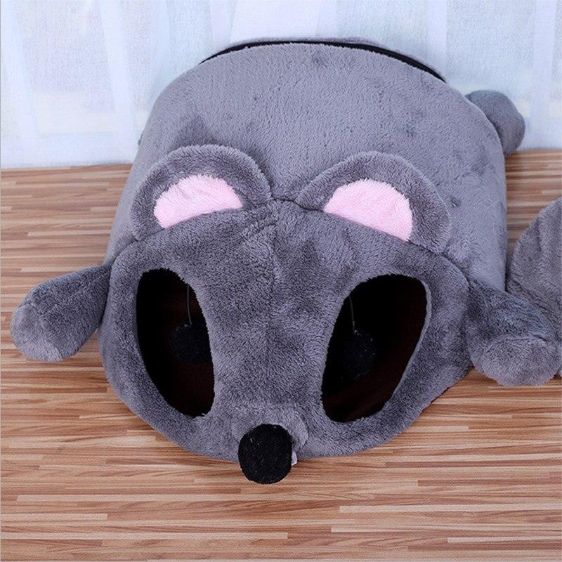 Купить с кэшбэком Newest Cartoon Gray Mouse Cats Bed Winter Thickening Warm Windproof Pet Nest Cats House Winter Supplies