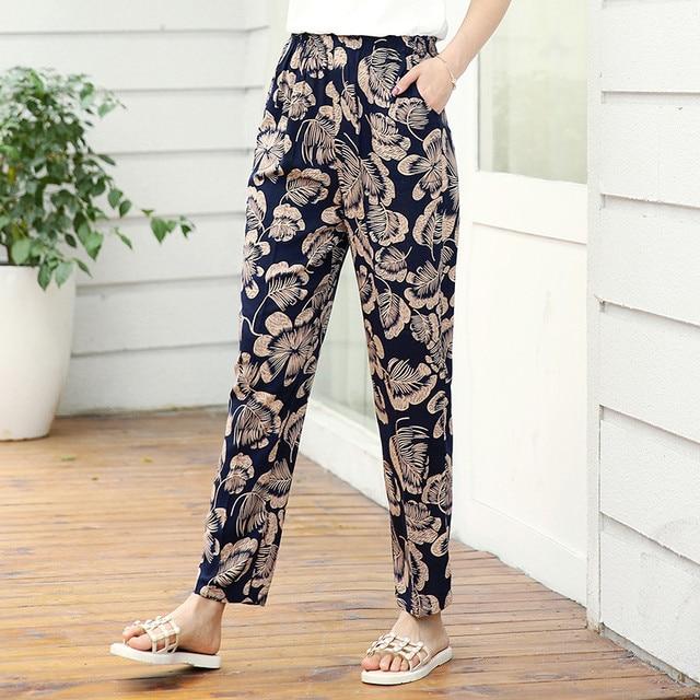 22 Colors 2020 Women Summer Casual Pencil Pants XL-5XL Plus Size High Waist Pants Printed Elastic Waist Middle Aged Women Pants 1