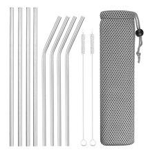 Pajitas reutilizables de Metal, 4/8 Uds., acero inoxidable 304, rectas curvadas resistentes, paja para bebidas