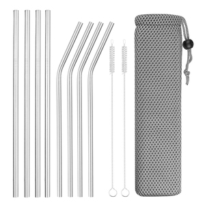 Reusable Metal Drinking Straws 4/8Pcs 304 Stainless Steel Sturdy Bent Straight Drinks Straw(China)
