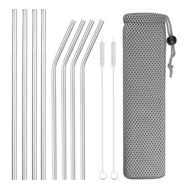 Reusable Metal Drinking Straws 4/8Pcs 304 Stainless Steel Sturdy Bent Straight Drinks Straw