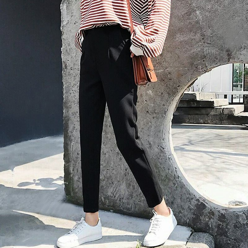 Women Harem Pants Ankle-length Trousers Female Classic High Elastic Waist Pants Casual  Spring Autumn Fashion Loose Trousers