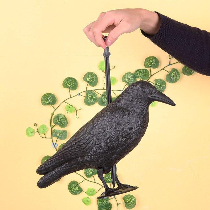 Cuervo cebo de jardín de plástico duro negro señuelo de cuervo de caza Grajilla pájaro al aire libre caza señuelo de tiro completa soporte del cuerpo Mal Cuervo Cable