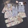 Женский Атласный пижамный комплект, пикантная Шелковая пижама, одежда для сна, ночные костюмы, мягкая Ночная одежда, домашняя одежда с нагру...