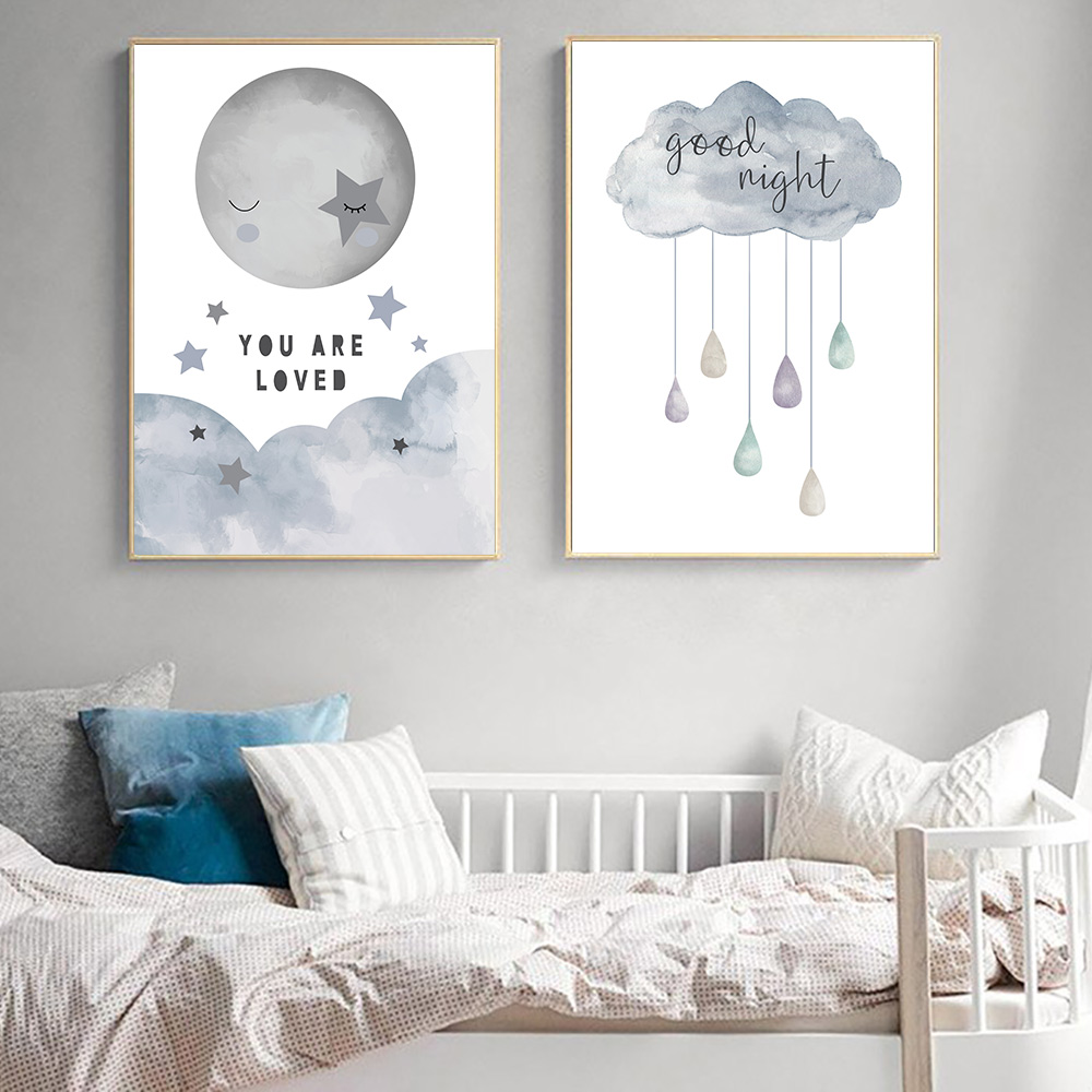 Home Decor Star Moon Cloud Posters Prints Baby Room Nursery Decor Wall Art Canvas Painting Home Garden Gefradis Fr
