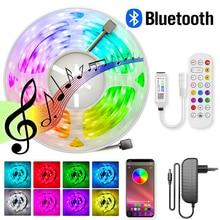 Цветная светодиодная лента 12 В SMD 5050, Светодиодная лента с дистанционным управлением через приложение, музыкальная лента с синхронизацией ...
