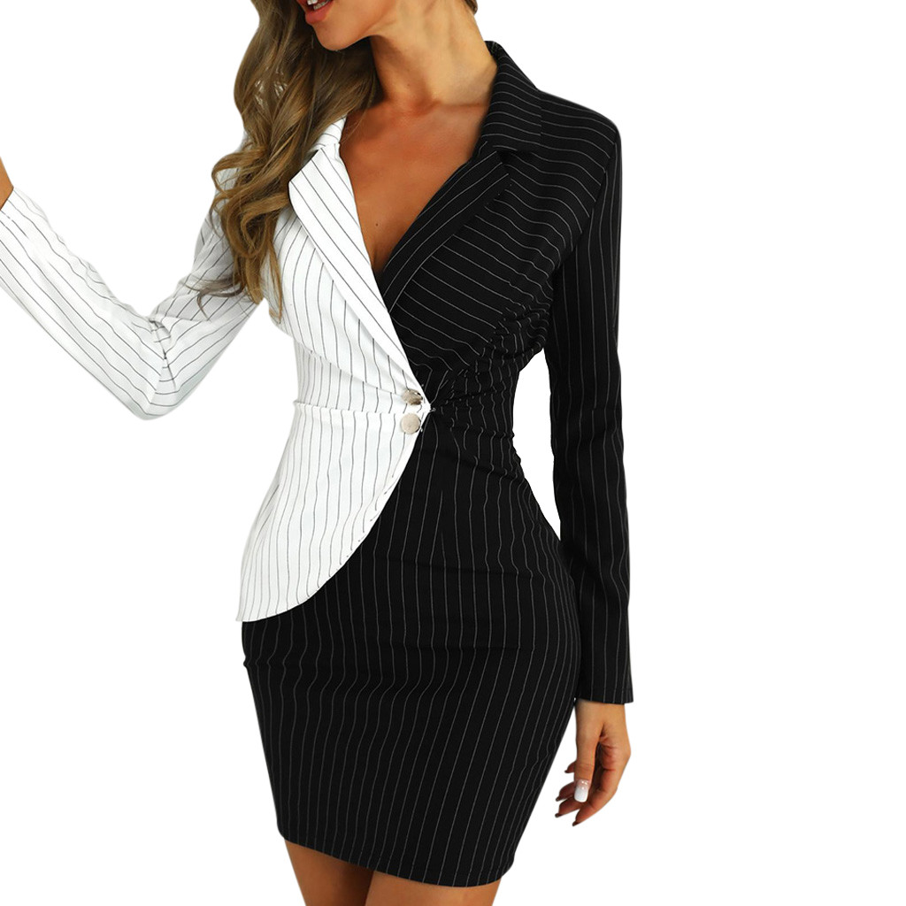 Hc75f6fca96a147919ebd59bd5087957ar Autumn Dress Women Turn Down Neck Long Sleeve Buttons Striped Patchwork Tight Blazer Dress Vestido De Festa White Dress #D5