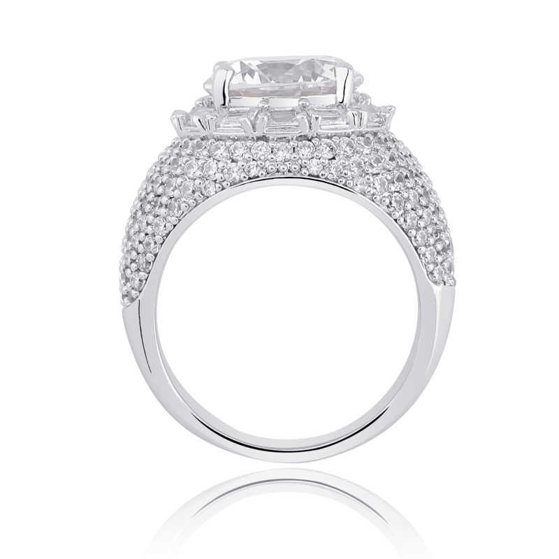 TOPGRILLZ แหวน Micro Pave Iced OUT Cubic Zircon Silver สีบุคลิกภาพ Hip Hop เครื่องประดับสำหรับของขวัญผู้ชายผู้หญิง